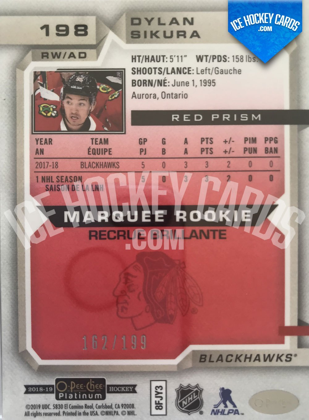 Upper Deck - O-Pee-Chee Platinum 18-19 - Dylan Sikura Marquee Rookie Red Prism back