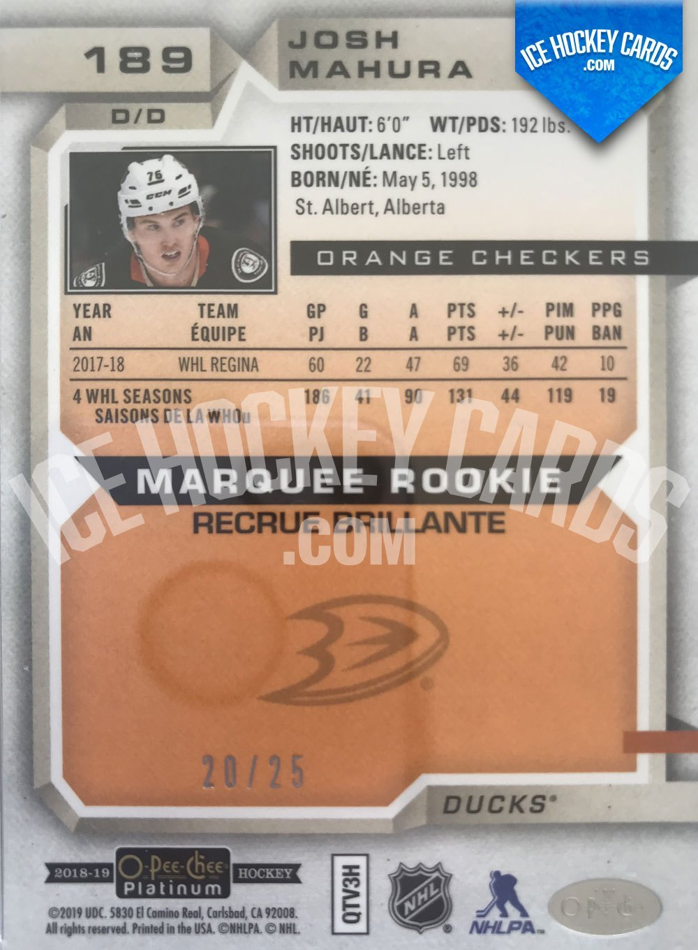 Upper Deck - O-Pee-Chee Platinum 18-19 - Josh Mahura Marquee Rookie Orange Checkers 20 of 25 RARE back