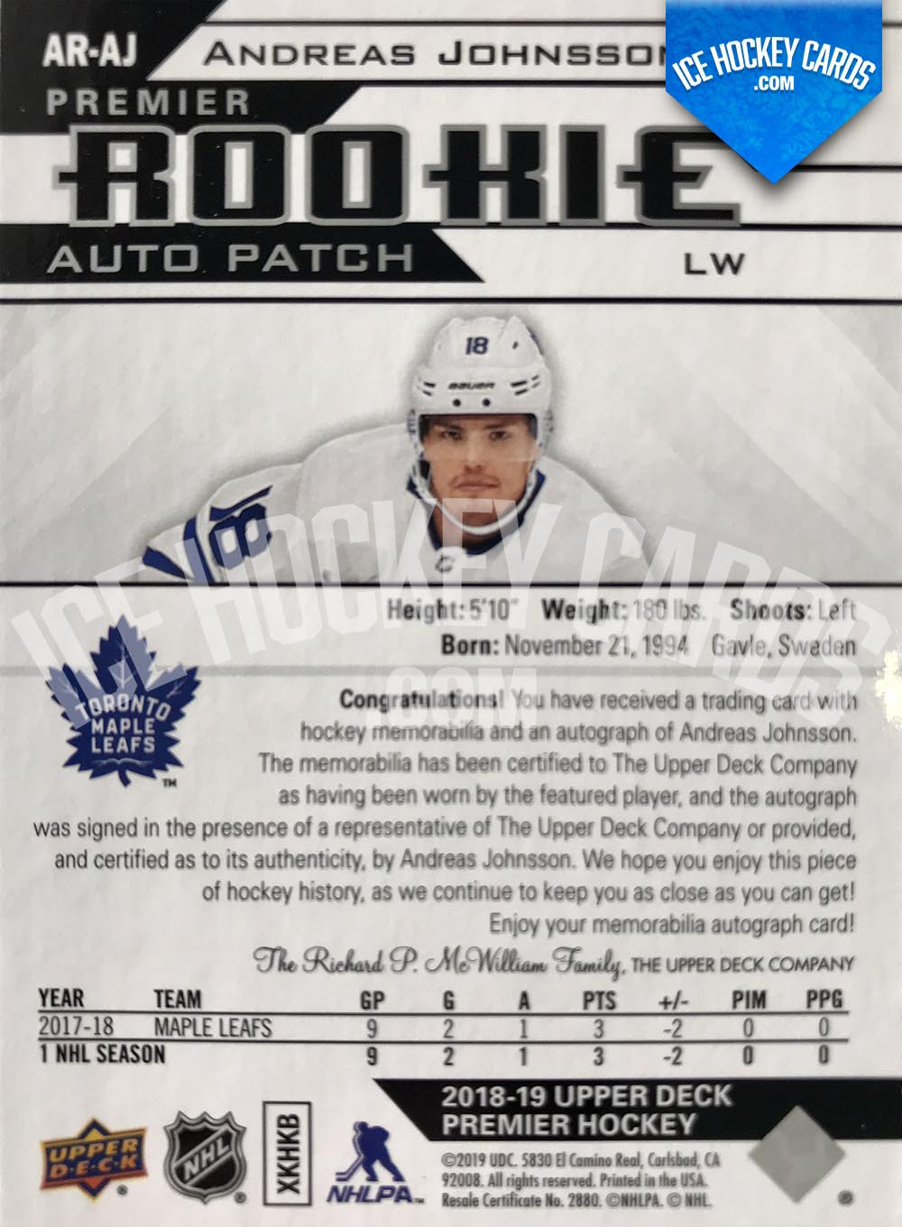Upper Deck - Premier 2018-19 - Andreas Johnsson Premier Rookie Auto Patch Card back