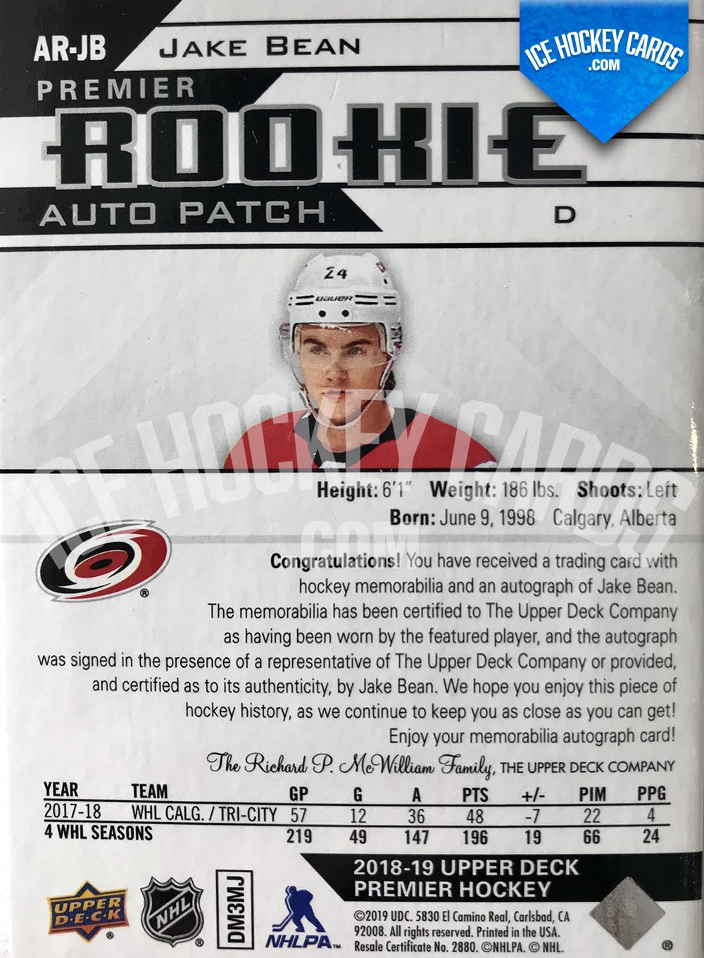 Upper Deck - Premier 2018-19 - Jake Bean Premier Rookie Auto Patch Card back