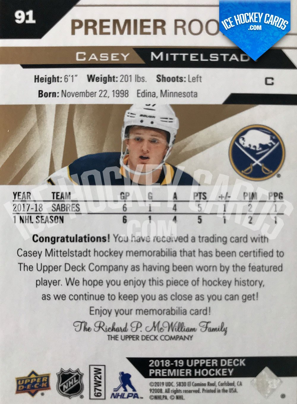 Upper Deck - Premier 2019-20 - Casey Mittelstadt Premier Rookie Fight Strap Patch RC # to 15 back