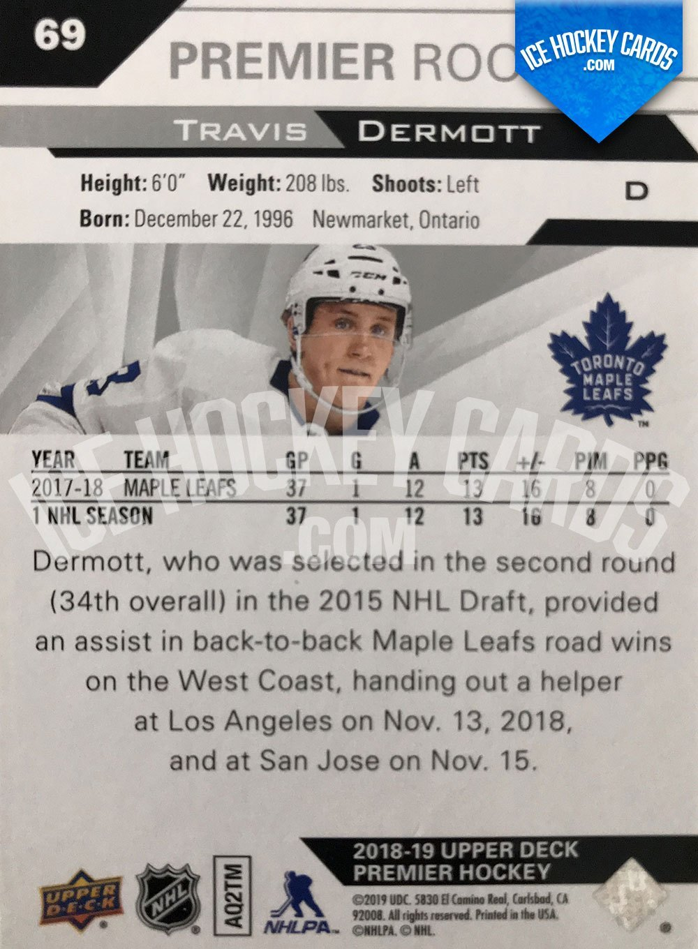 Upper Deck - Premier 2019-20 - Travis Dermott Base Rookie Card back