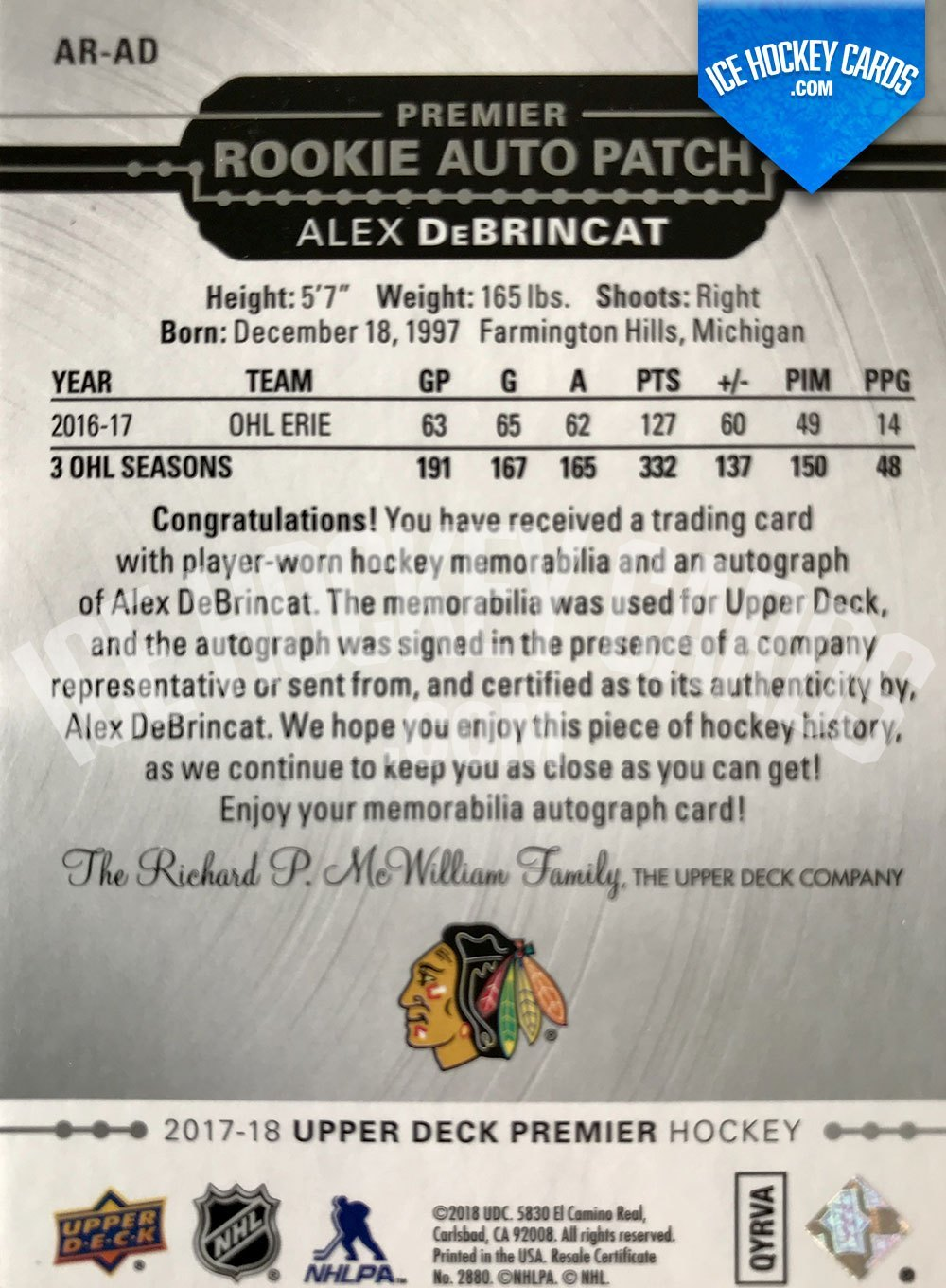 Upper Deck - Premier Hockey 2017-18 - Alex DeBrincat Premier Rookie Auto Patch RC back