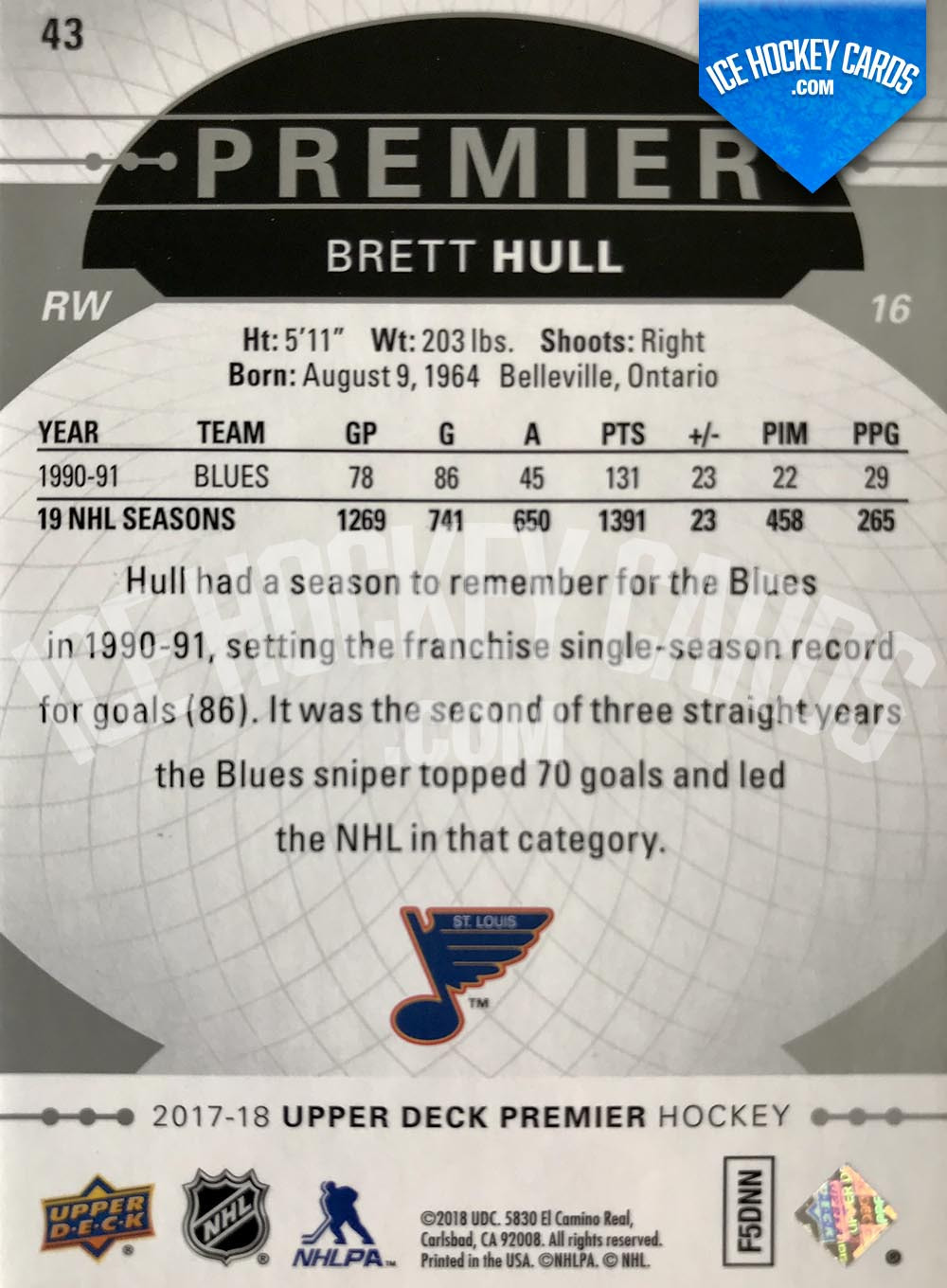 Upper Deck - Premier Hockey 2017-18 - Brett Hull Premier Legend Base Card back