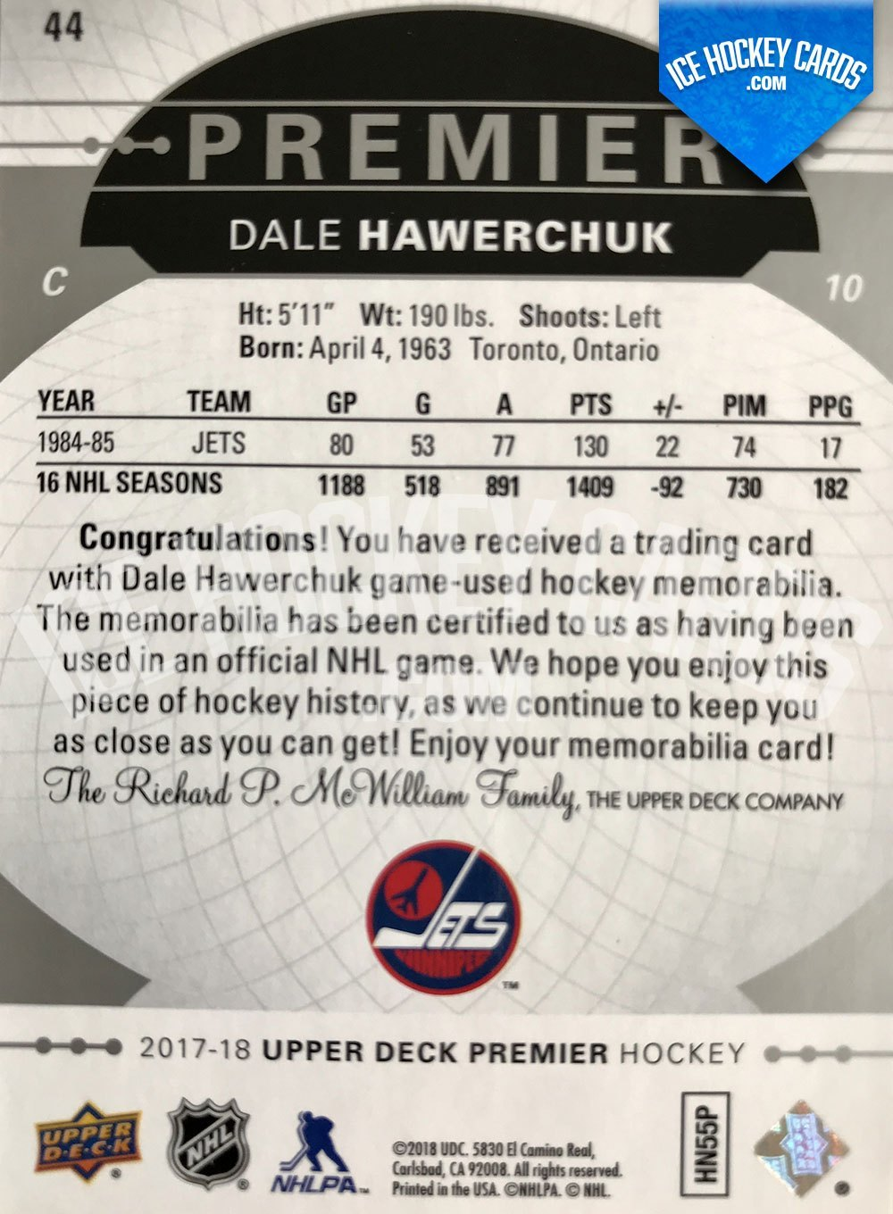 Upper Deck - Premier Hockey 2017-18 - Dale Hawerchuk Base Legend Patch Card back