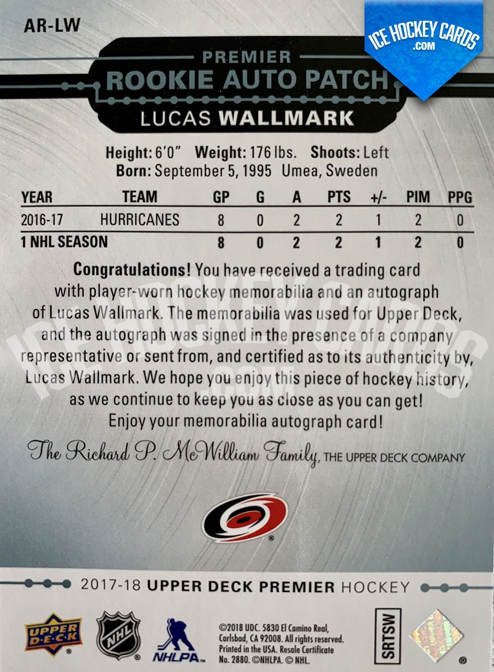 Upper Deck - Premier Hockey 2017-18 - Lucas Wallmark Premier Rookie Auto Patch Card # up to 25 back RARE