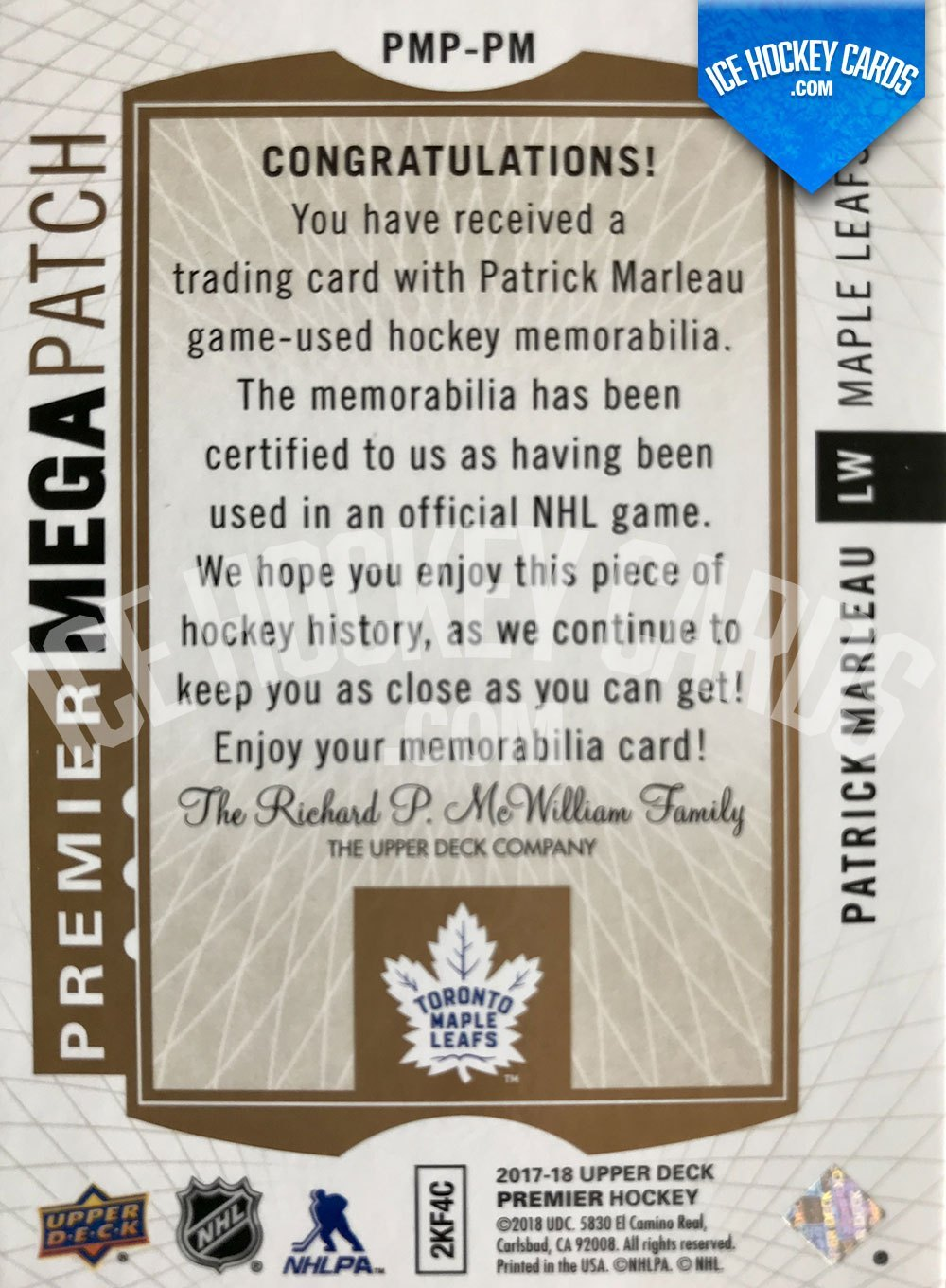 Upper Deck - Premier Hockey 2017-18 - Patrick Marleau Authentic Game-Used Premier Mega Patch Card up to 21 prints back RARE