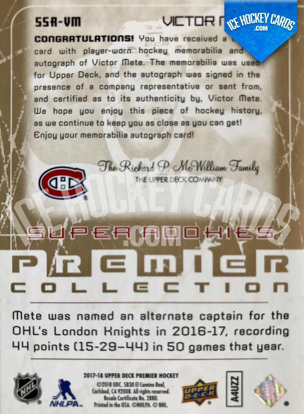 Upper Deck - Premier Hockey 2017-18 - Victor Mete Super Rookies Auto Patch RC - # to 15 back RARE