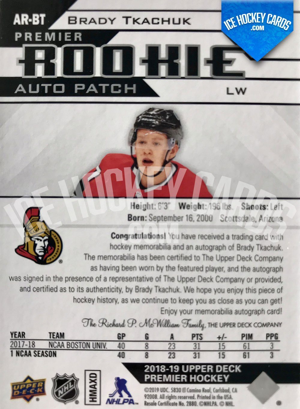 Upper Deck - Premier Hockey 2018-19 - Brady Tkachuk Premier Rookie Auto Patch RC back