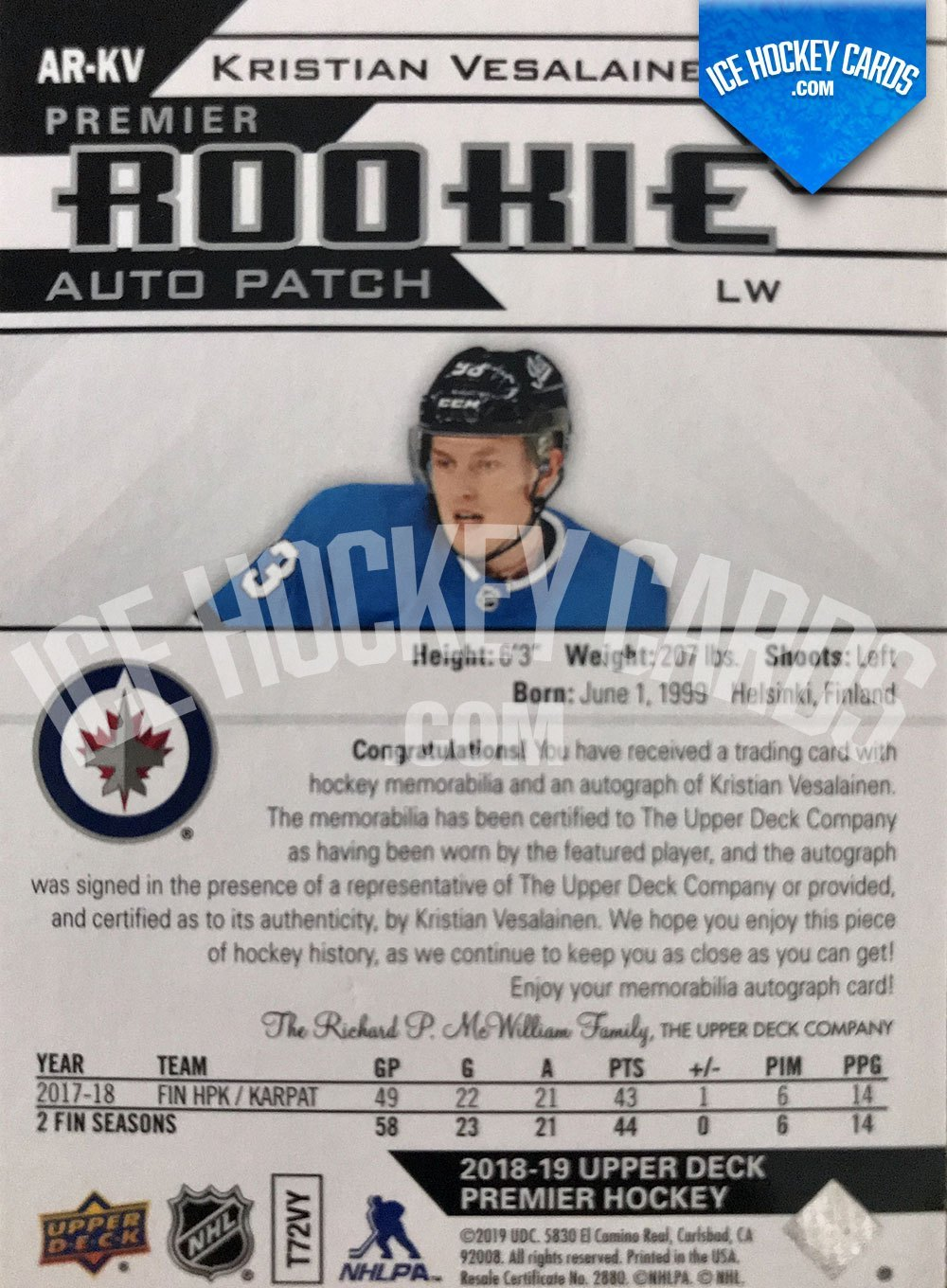 Upper Deck - Premier Hockey 2018-19 - Kristian Vesalainen Premier Rookie Auto Patch RC back
