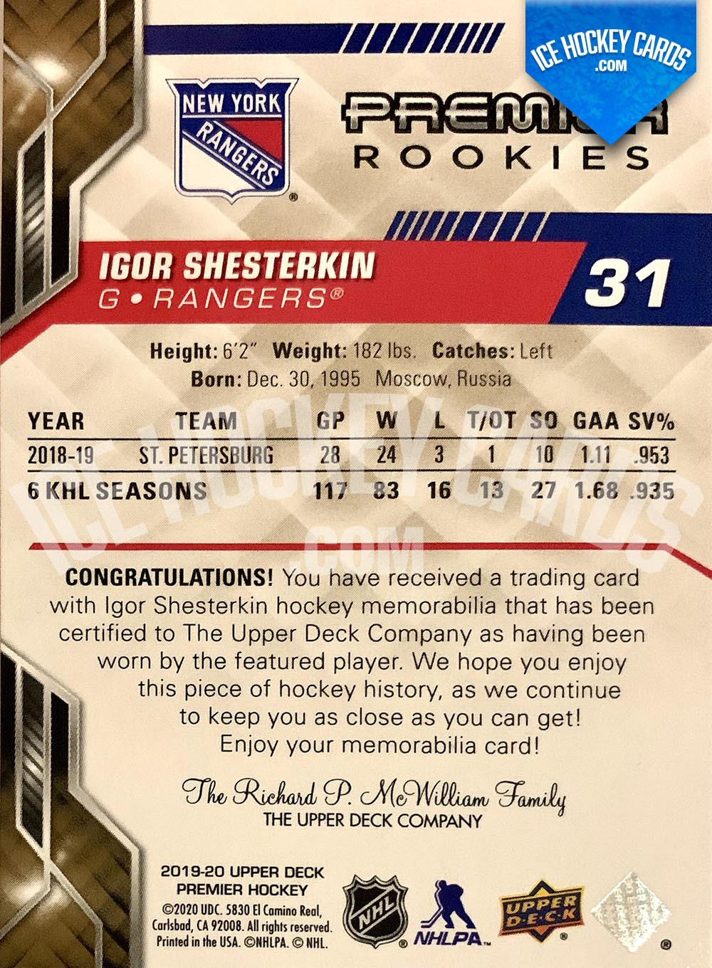 Upper Deck - Premier Hockey 2019-20 - Igor Shesterkin Premier Rookies Patch Card back