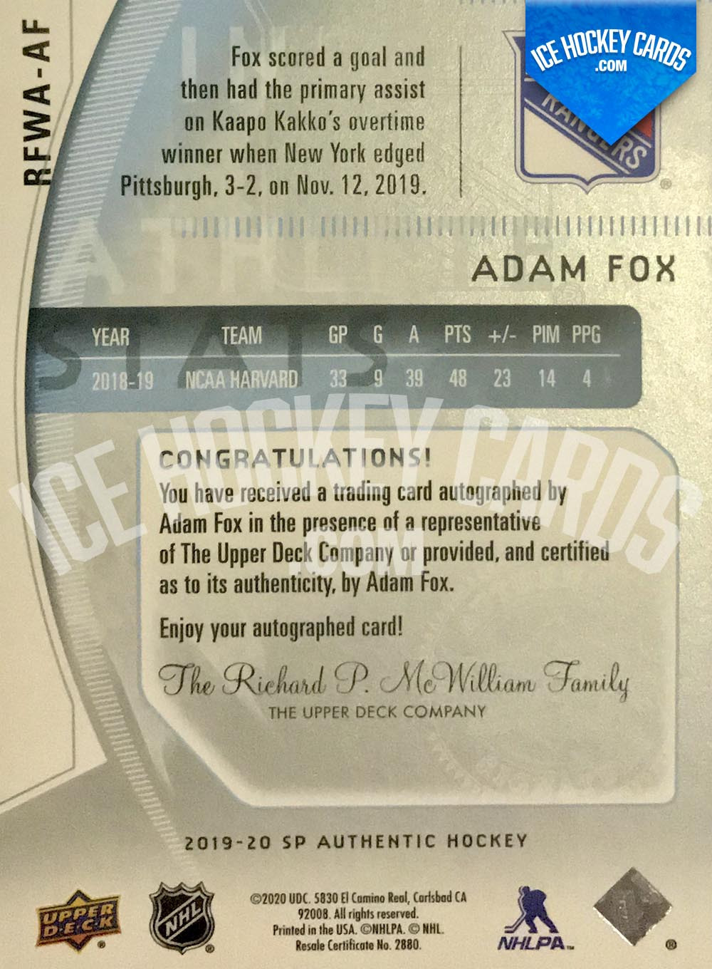 Upper Deck - SP Authentic 2019-20 - Adam Fox Autographed Future Watch Retro Auto RC back