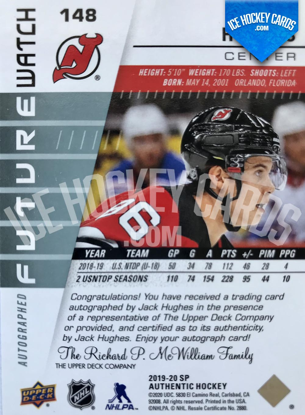 Upper Deck - SP Authentic 2019-20 - Jack Hughes Autographed Future Watch Rookie Card back
