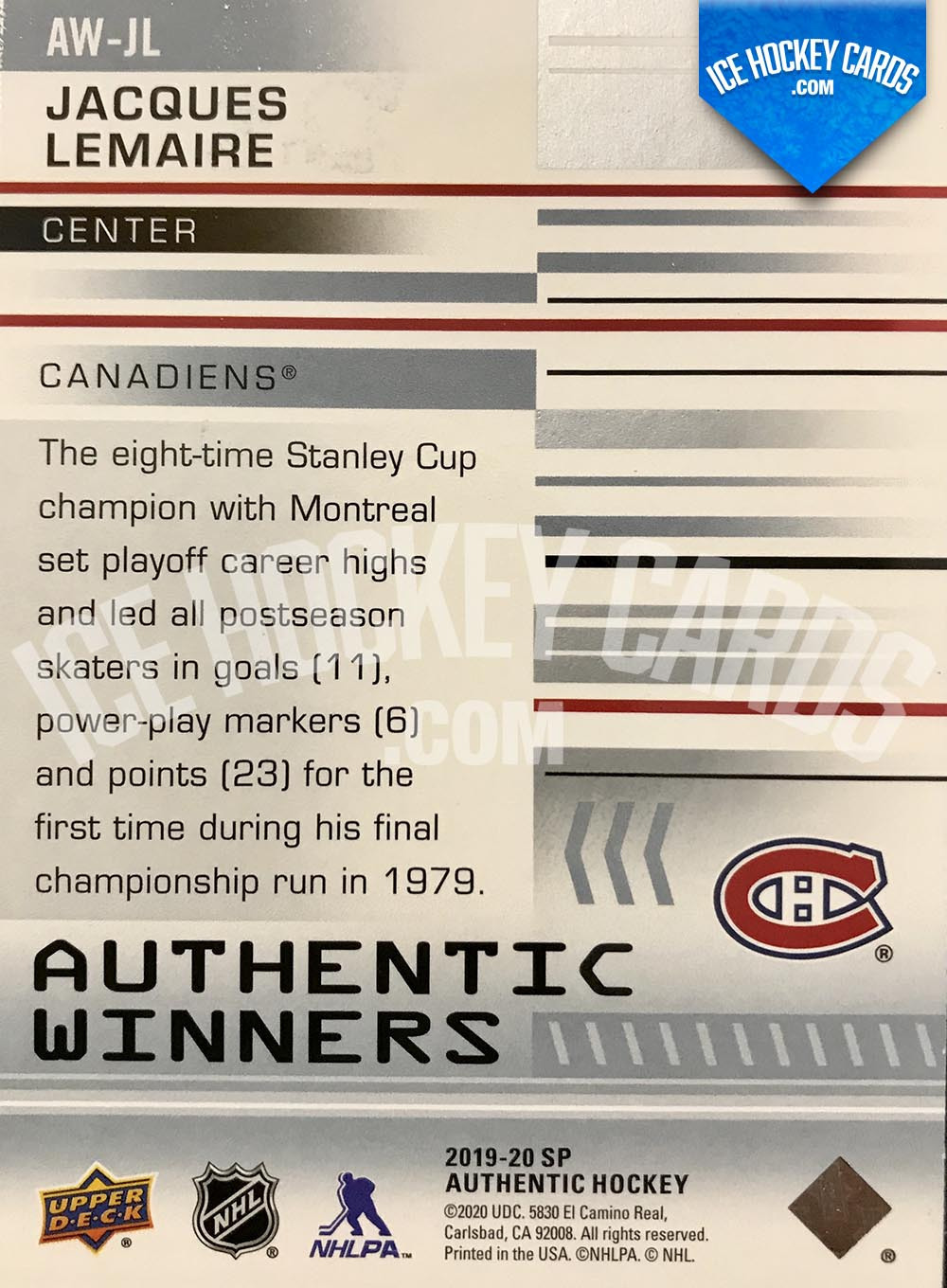 Upper Deck - SP Authentic 2019-20 - Jacques Lemaire Authentic Winners back
