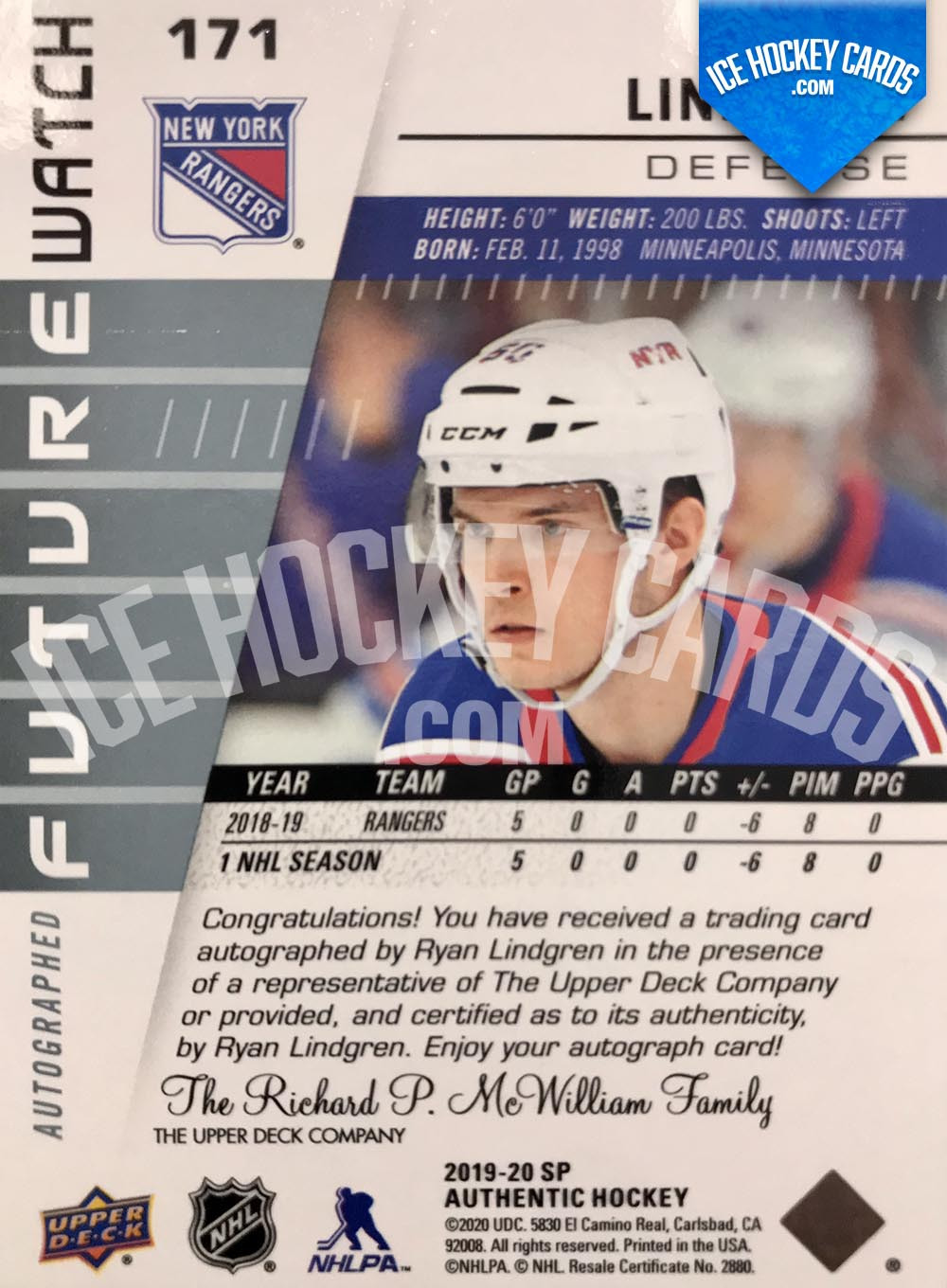 Upper Deck - SP Authentic 2019-20 - Ryan Lindgren Autographed Future Watch Rookie Card back