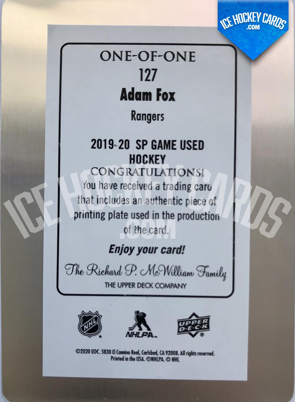Upper-Deck-SP-Game-Used-2019-20-Adam-Fox-Authentic-One-of-One-Rookie-Printing-Plate-back