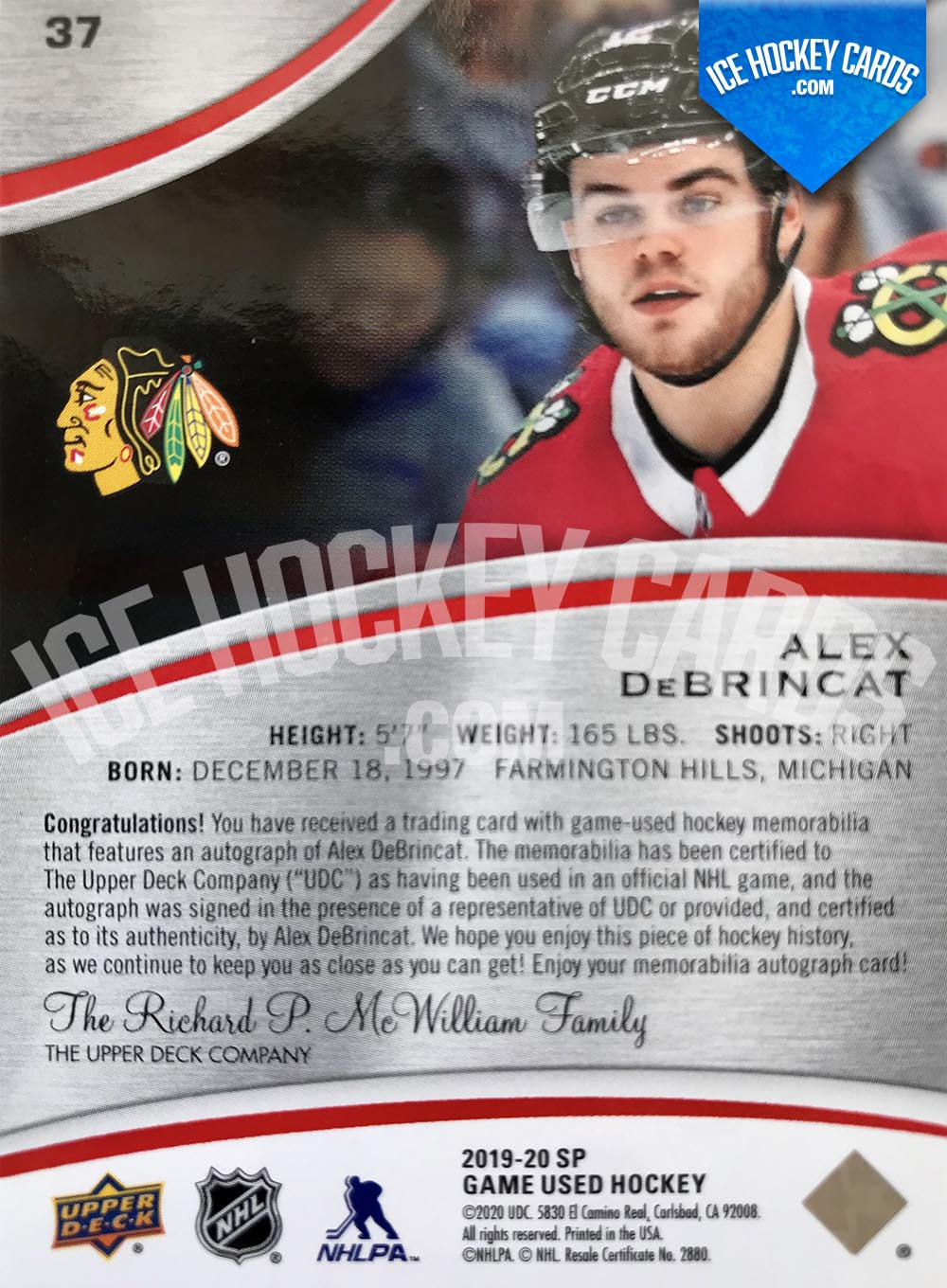 Upper Deck - SP Game Used 2019-20 - Alex DeBrincat Premium Auto Patch # to 15 RARE back