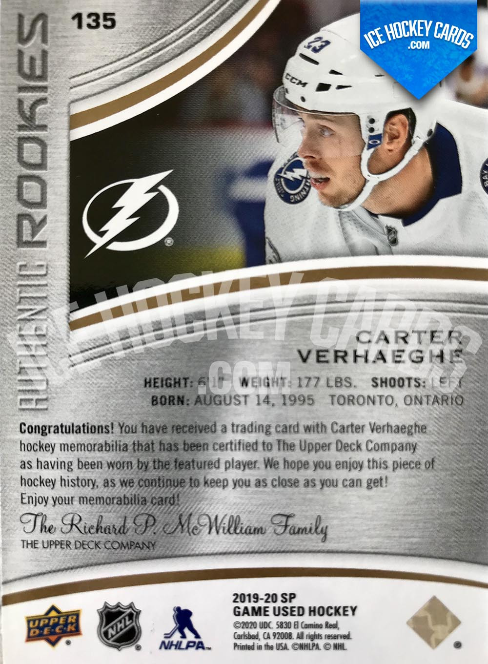 Upper Deck - SP Game Used 2019-20 - Carter Verhaeghe Authentic Rookies Patch Card back