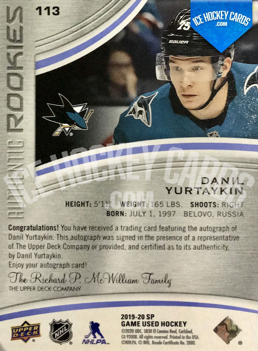Upper Deck - SP Game Used 2019-20 - Danil Yurtaykin Authentic Rookies Auto RC back