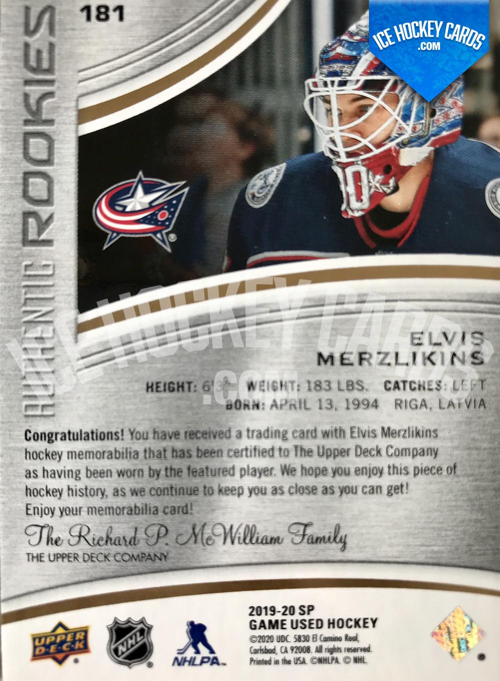 Upper Deck - SP Game Used 2019-20 - Elvis Merzlikins Authentic Rookies Patch Card back