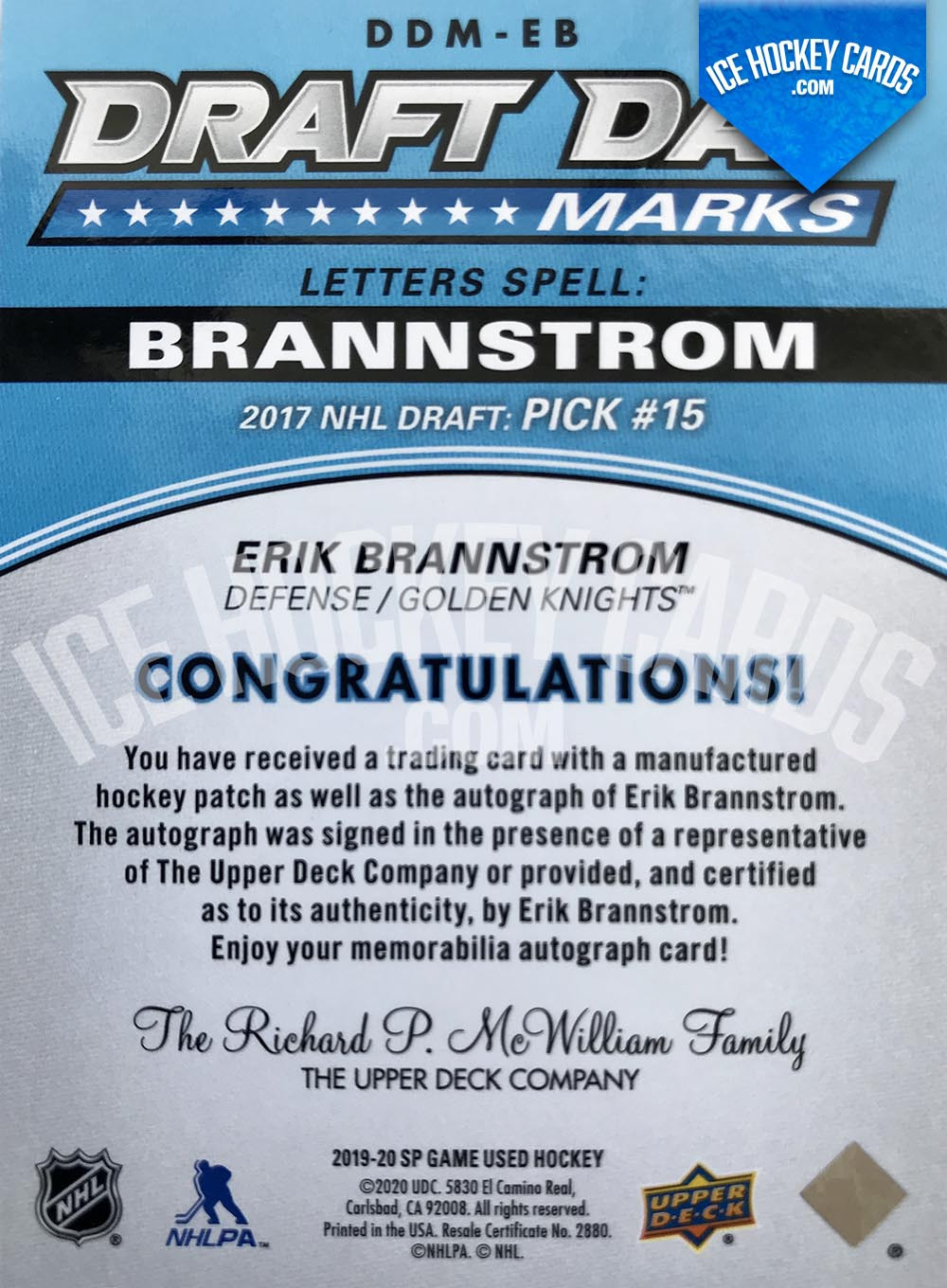 Upper Deck - SP Game Used 2019-20 - Erik Brannstrom Draft Day Marks - 2017 NHL Draft Pick #15 Rookie Card # to 35 RARE back