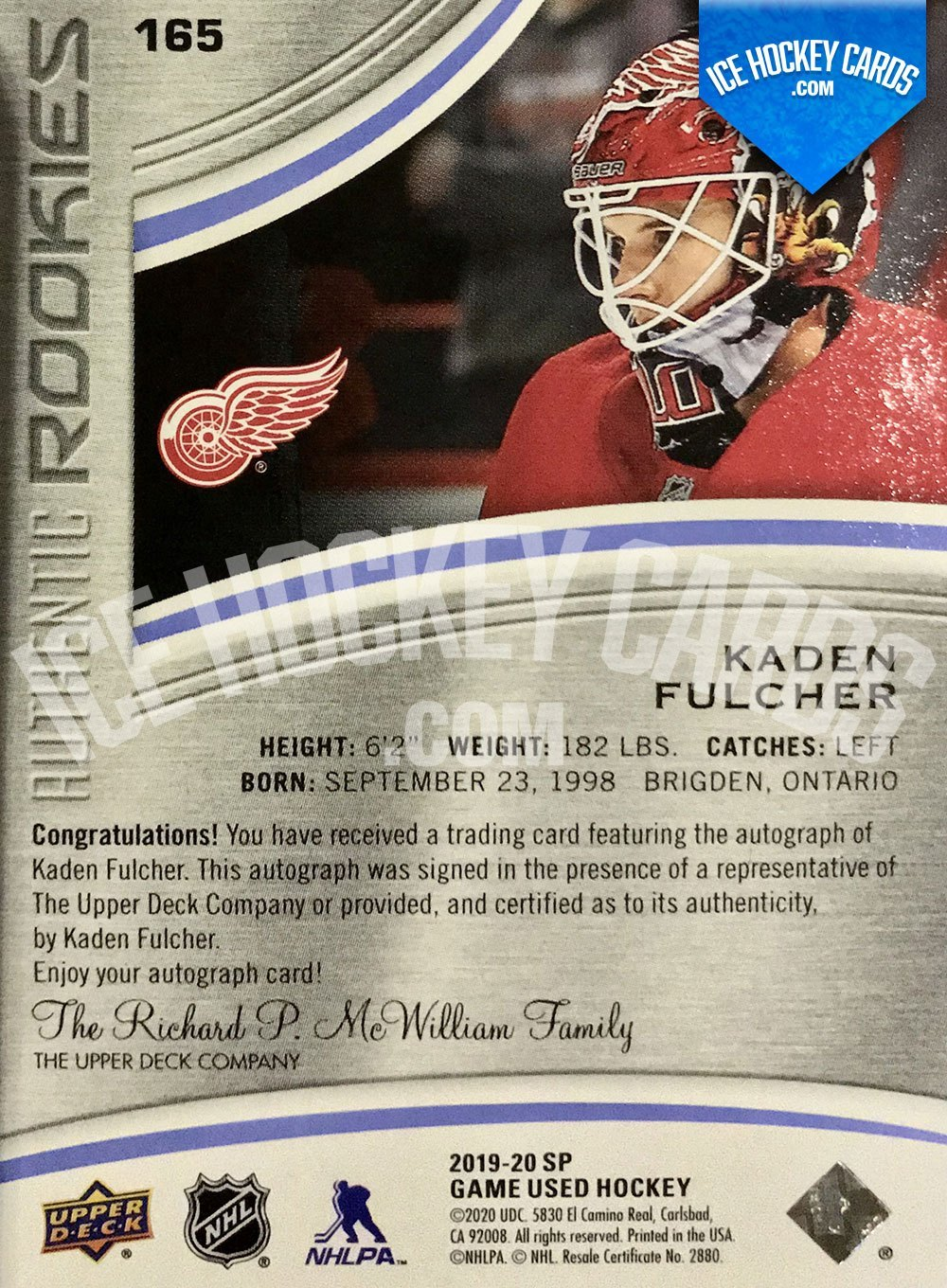 Upper Deck - SP Game Used 2019-20 - Kaden Fulcher Authentic Rookies Auto RC back