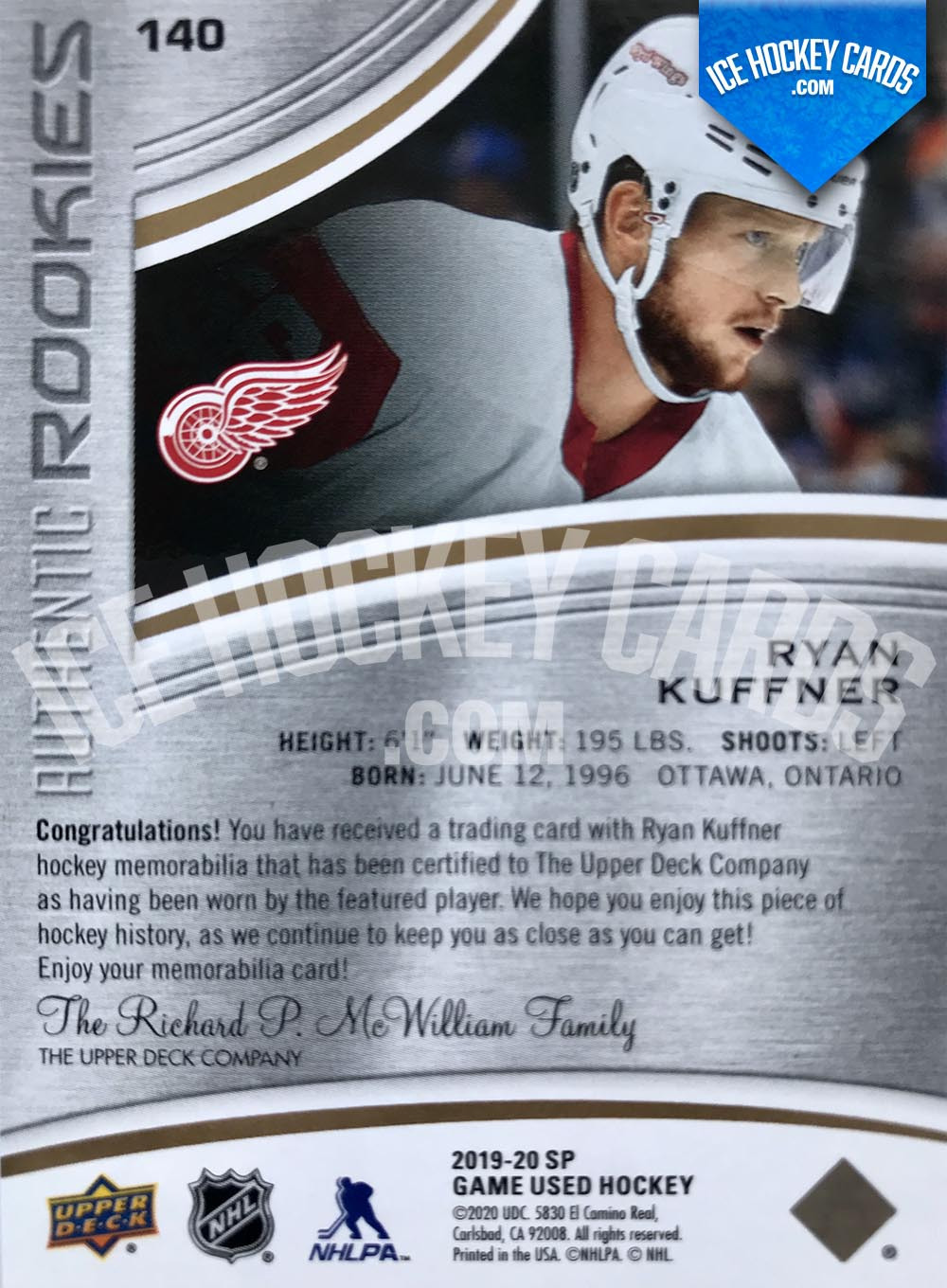 Upper-Deck-SP-Game-Used-2019-20-Ryan-Kuffner-Authentic-Rookies-Patch-Card-to-65-back