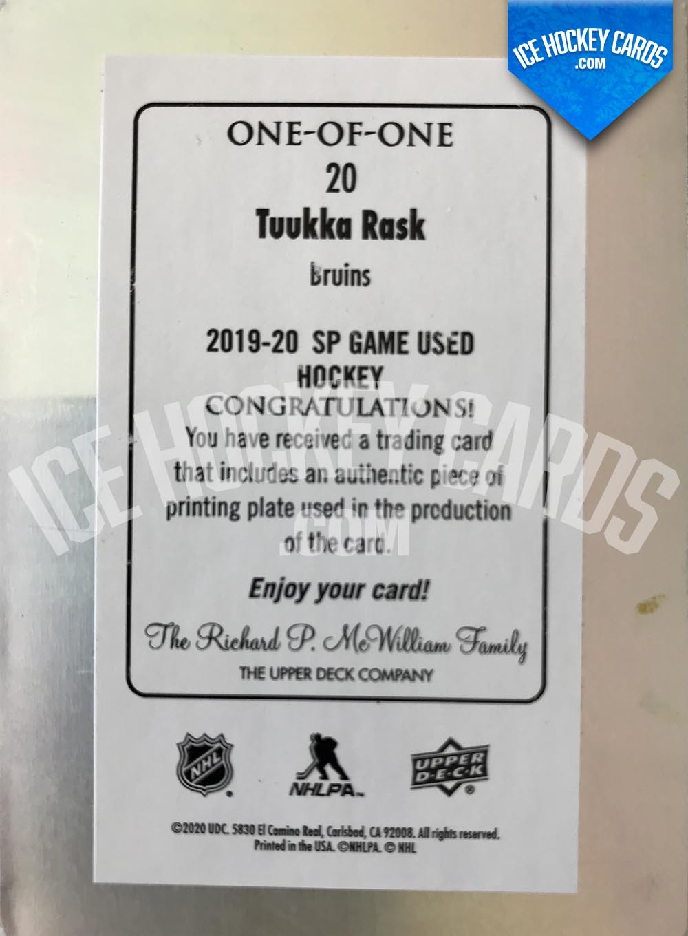 Upper Deck - SP Game Used 2019-20 - Tuukka Rask Authentic One-of-One Printing Plate UNIQUE back