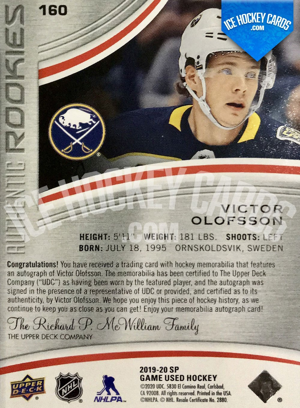 Upper Deck - SP Game Used 2019-20 - Victor Olofsson Authentic Rookies Auto Patch RC back