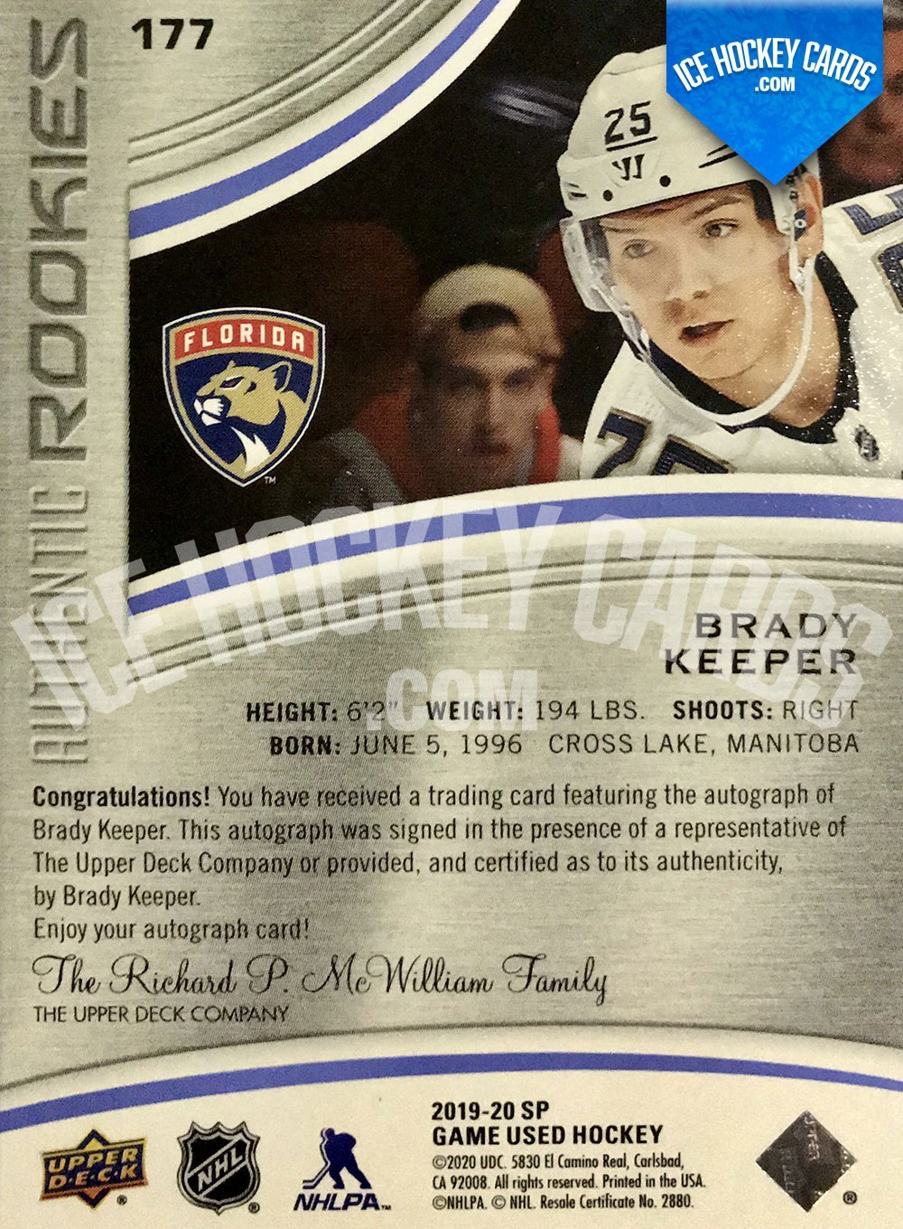 Upper Deck - SP Game Used Hockey 2019-20 - Brady Keeper Authentic Rookies Auto RC back
