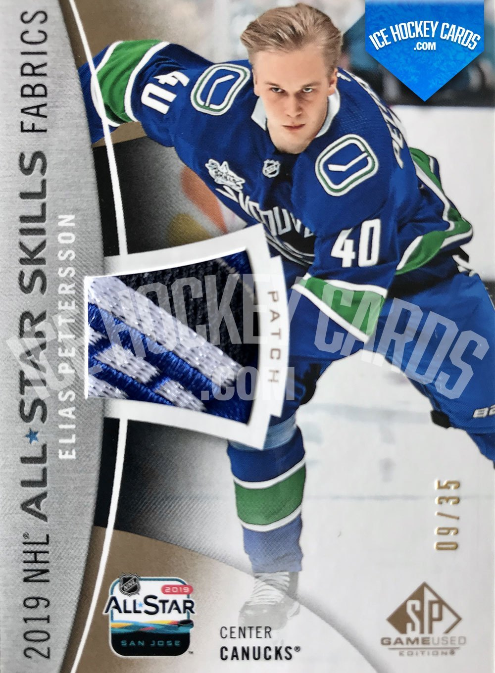 Upper Deck - SP Game Used Hockey 2019-20 - Elias Pettersson 2019 NHL All-Star Skills Fabrics Trading Card 9 to 25 RARE