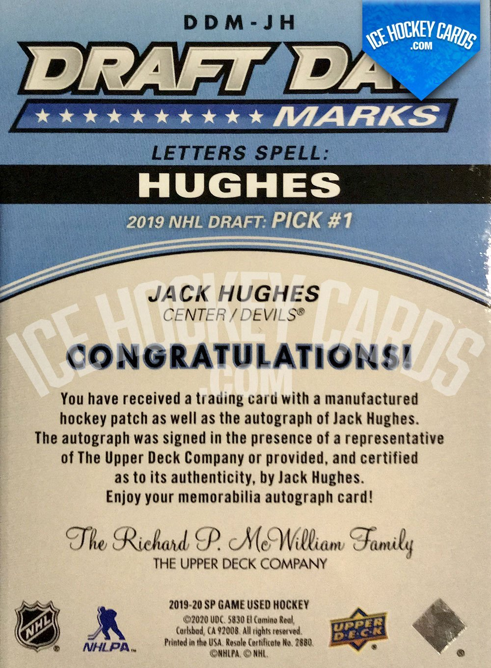 Upper Deck - SP Game Used Hockey 2019-20 - Jack Hughes Auto Patch Draft Day Marks - 2019 NHL Draft Pick #1 Rookie Card back RARE