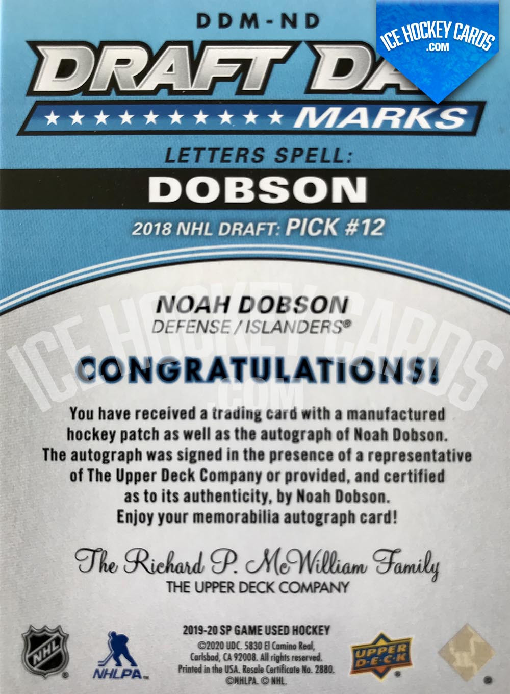 Upper Deck - SP Game Used Hockey 2019-20 - Noah Dobson Auto Patch Draft Day Marks - 2018 NHL Draft Pick #12 Rookie Card # TO 35 RARE back