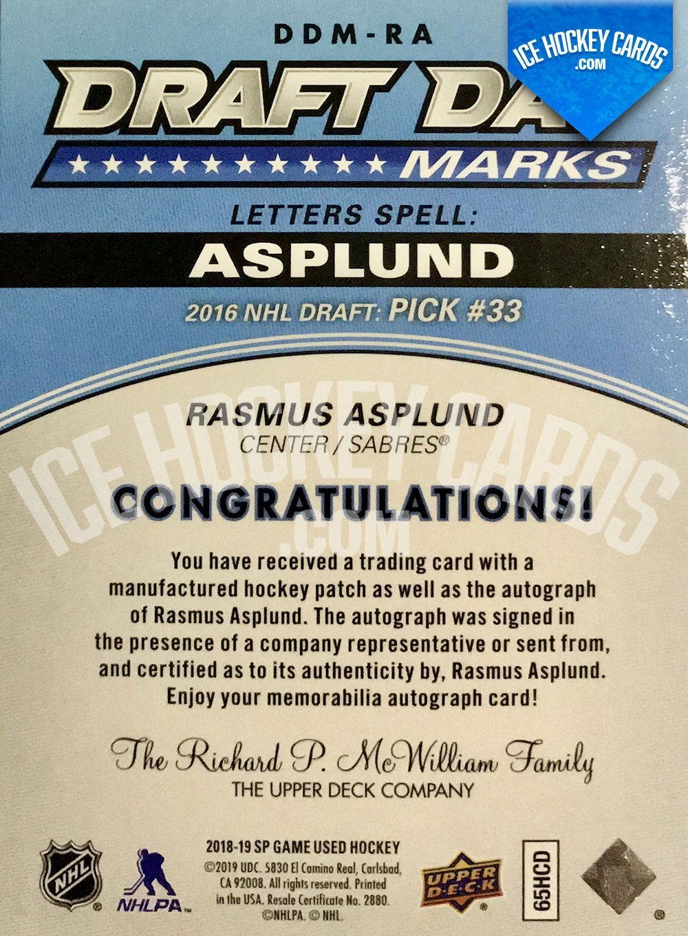 Upper Deck - SP Game Used Hockey 2019-20 - Rasmus Asplund Auto Patch Draft Day Marks - 2016 NHL Draft Pick #33 Rookie Card # to 35 RARE back