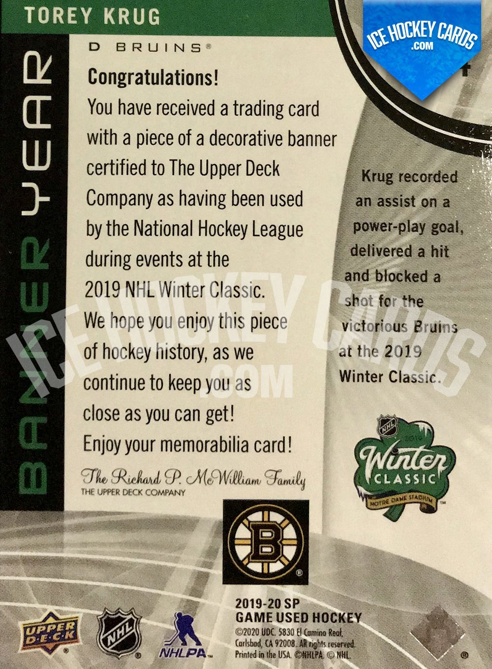 Upper Deck - SP Game Used Hockey 2019-20 - Torey Krug Winter Classic Banner Year Patch Card back