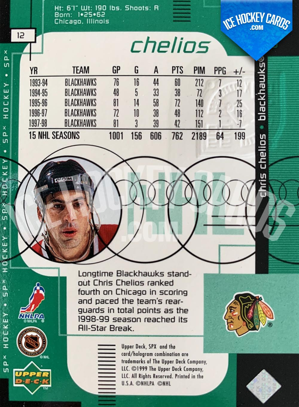 Upper Deck - SPx 1999-20 - Chris Chelios Radiance Card # to 100 back