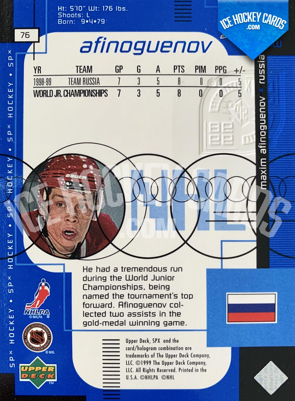 Upper Deck - SPx 1999-20 - Maxim Afinoguenov Rookie Card back