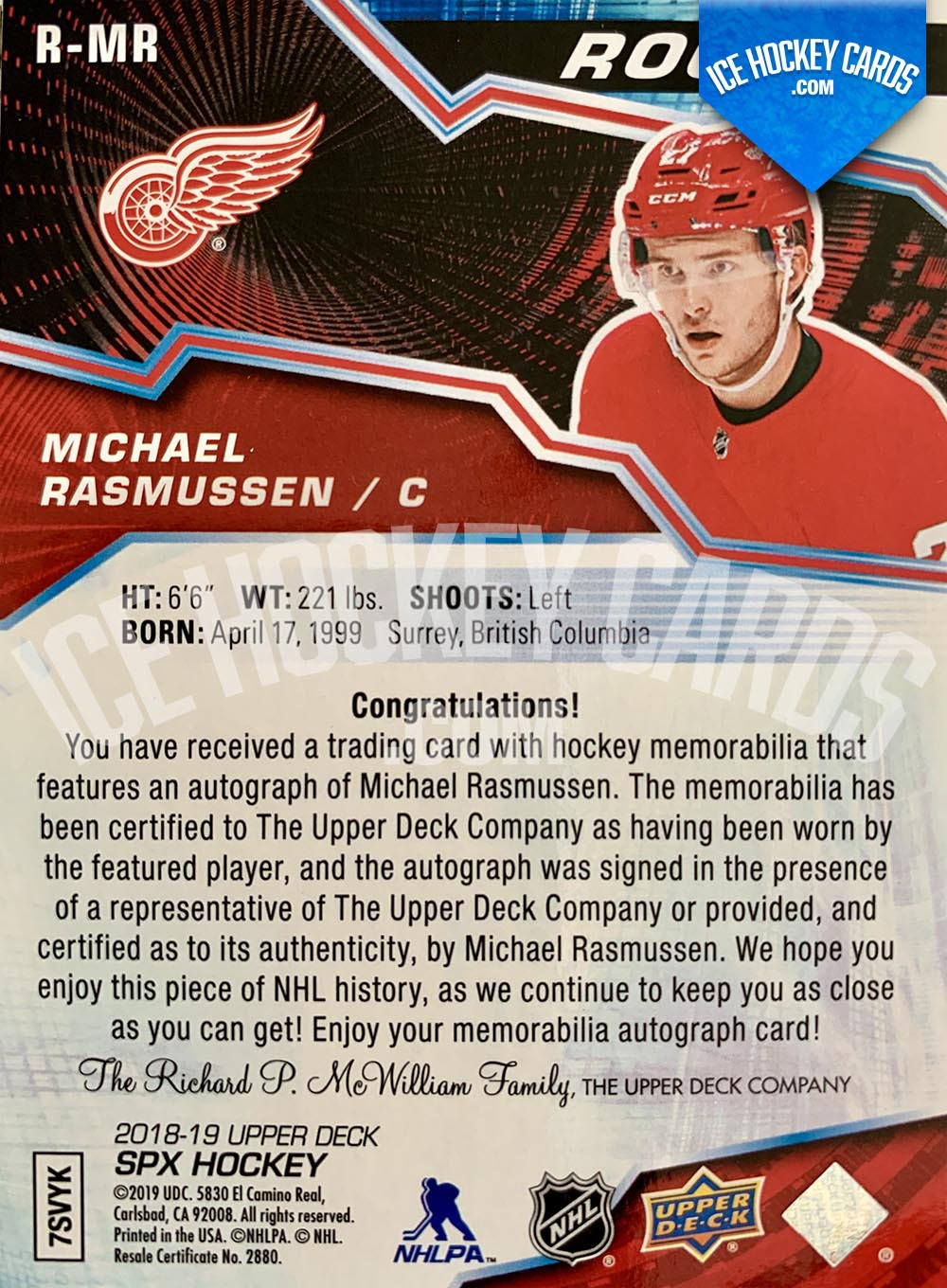 Upper Deck - SPx 2018-19 - Michael Rasmussen Rookie Auto Patch Card # to 49 back