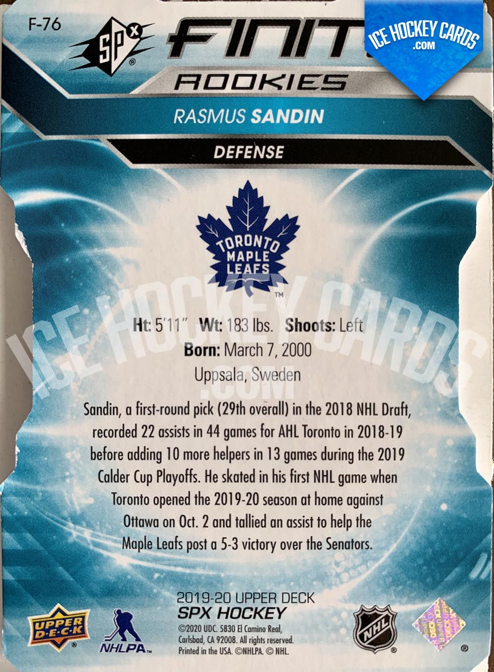 Upper Deck - SPx 2019-20 - Rasmus Sandin Finite Rookies Cut Rookie Card # to 5 SUPER RARE back