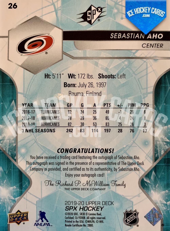 Upper Deck - SPx 2019-20 - Sebastian Aho Autograph Card back