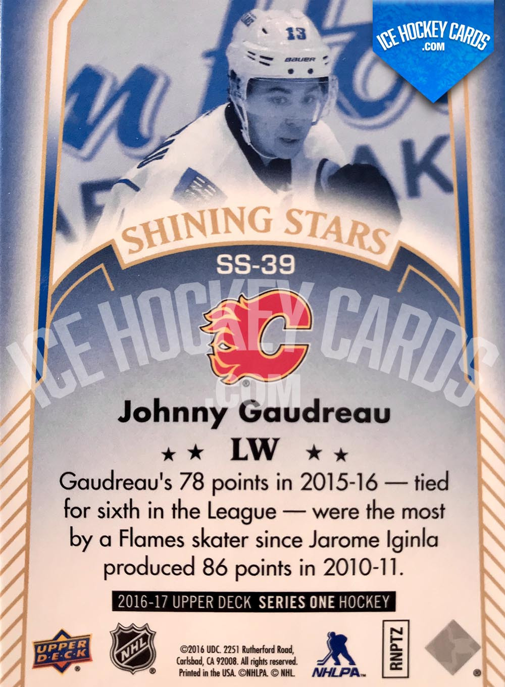 Upper Deck - Series 1 2016-17 - Johnny Gaudreau Shining Stars Blue Card back