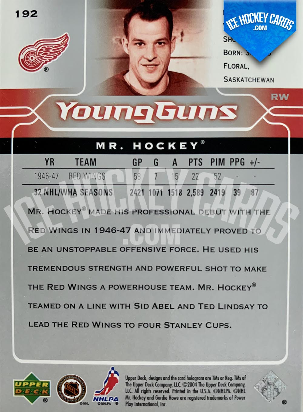 "Upper Deck - Series 2004-05 - Gordie Howe ""Mr. Hockey"" Young Guns Retro back RARE"