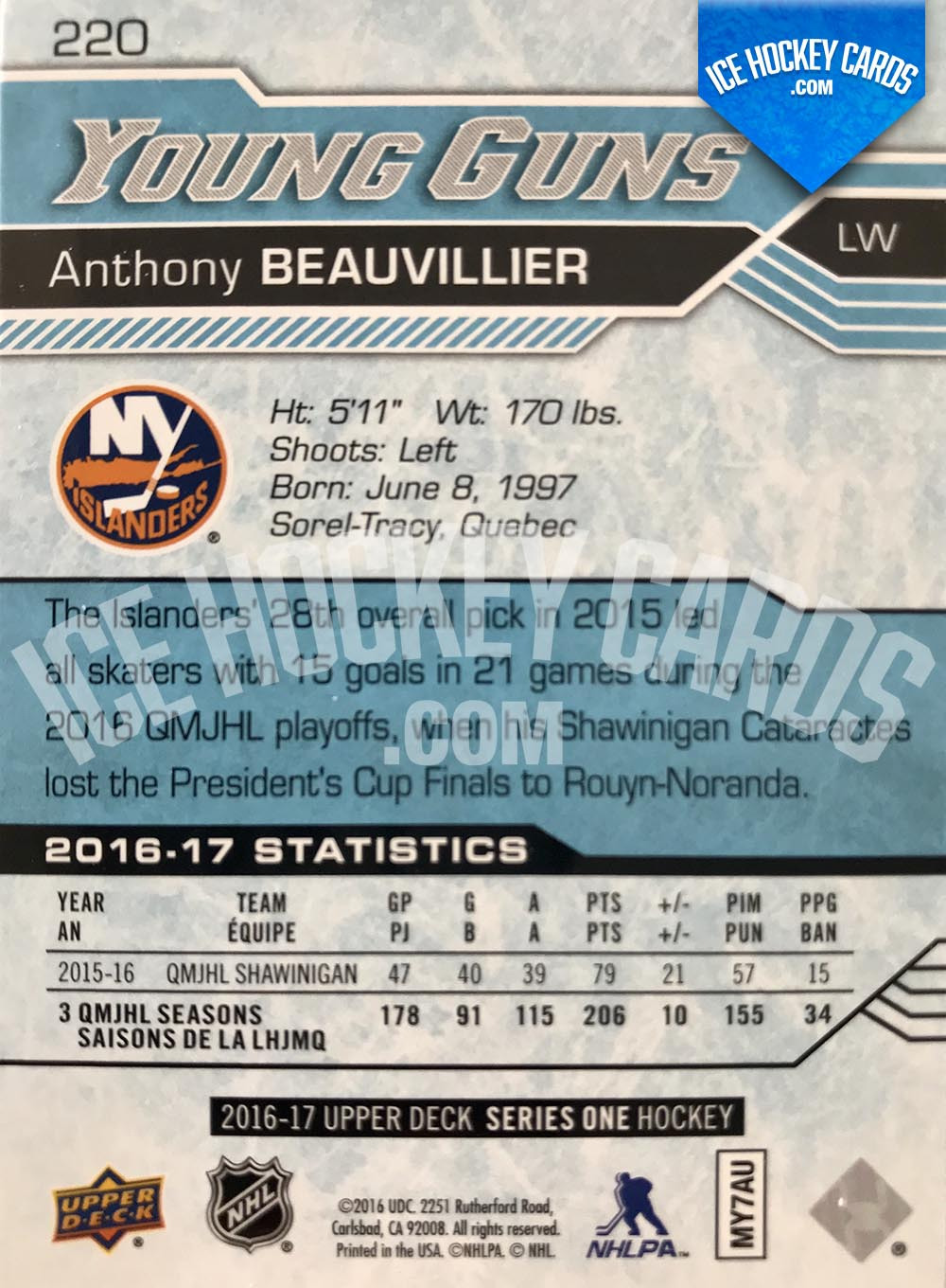 Upper Deck - Series 2016-17 - Anthony Beauvillier Young Guns Rookie Card back
