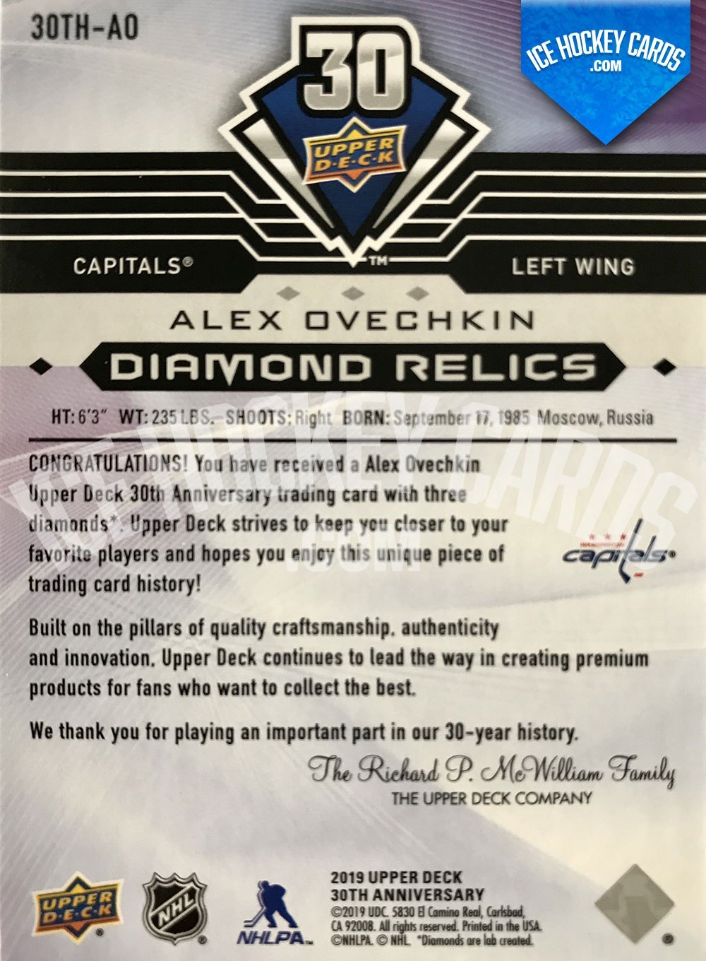 Upper Deck - Series 2019-20 - Alexander Ovechkin Triple Diamond Relics Upper Deck 30th Anniversary Trading Card back RARE
