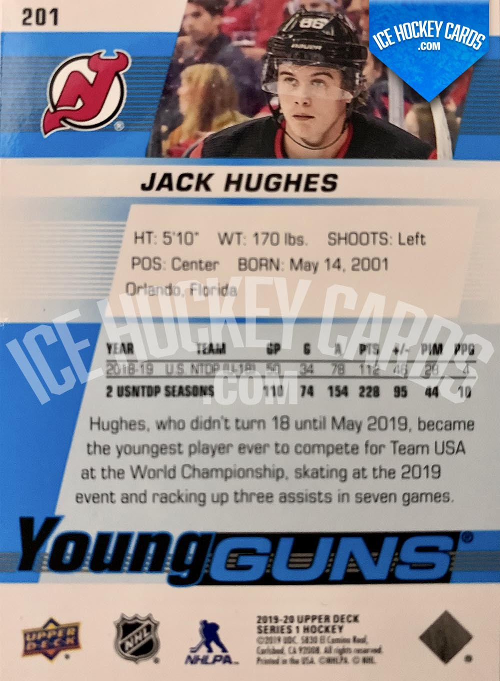 Upper Deck - Series 2019-20 - Jack Hughes Young Guns Rookie Card back