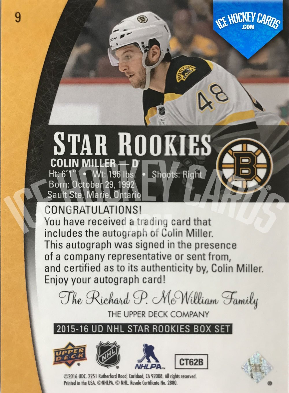 Upper Deck - Star Rookies 15-16 - Colin Miller Autograph Rookie Card