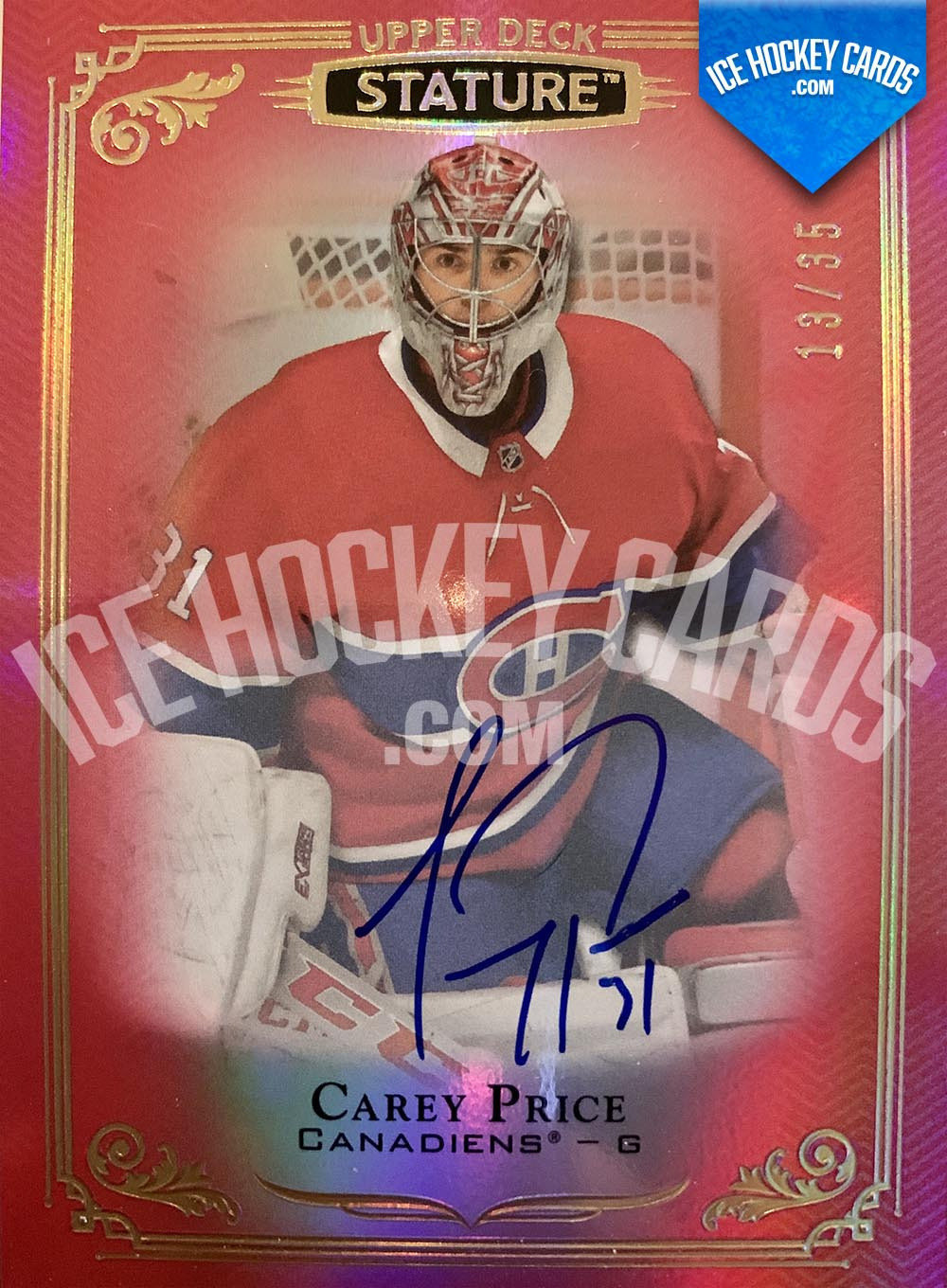 Upper Deck - Stature 2019-20 - Carey Price Autograph Card Red # to 35