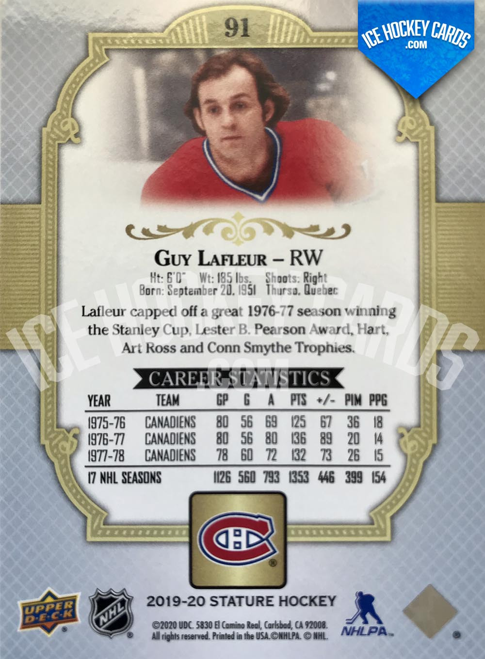 Upper Deck - Stature 2019-20 - Guy Lafleur Red Base Card # to 20 RARE back