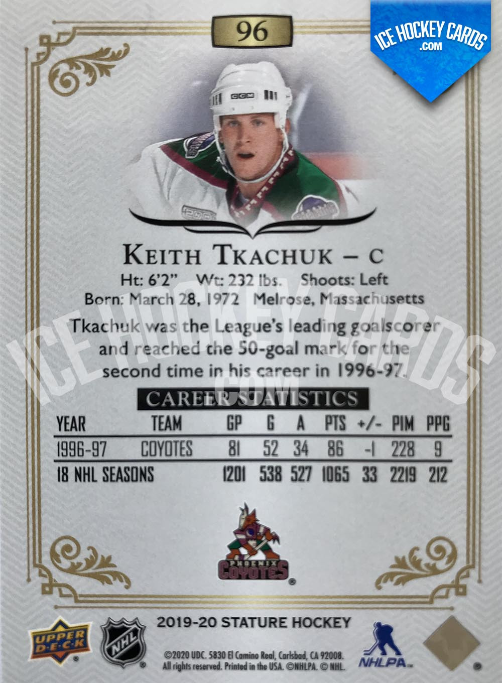 Upper Deck - Stature 2019-20 - Keith Tkachuk Red Base Card # to 75 back