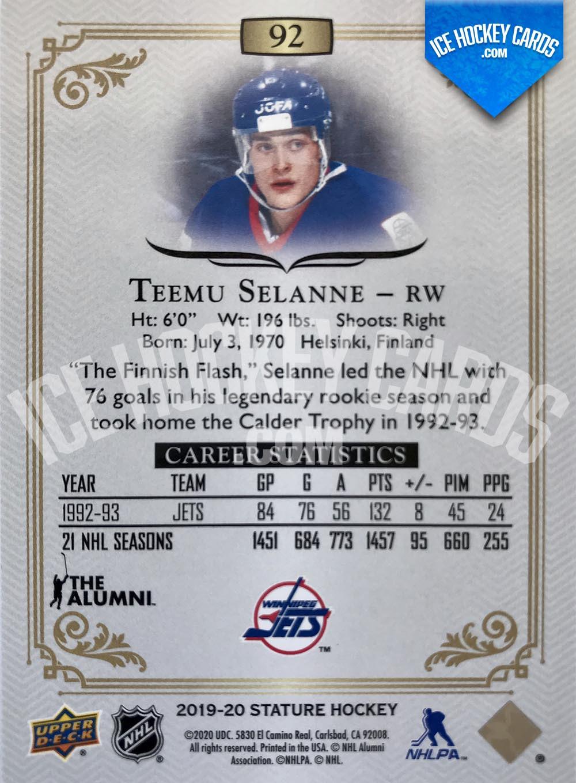 Upper Deck - Stature 2019-20 - Teemu Selanne The Alumni Base Card back